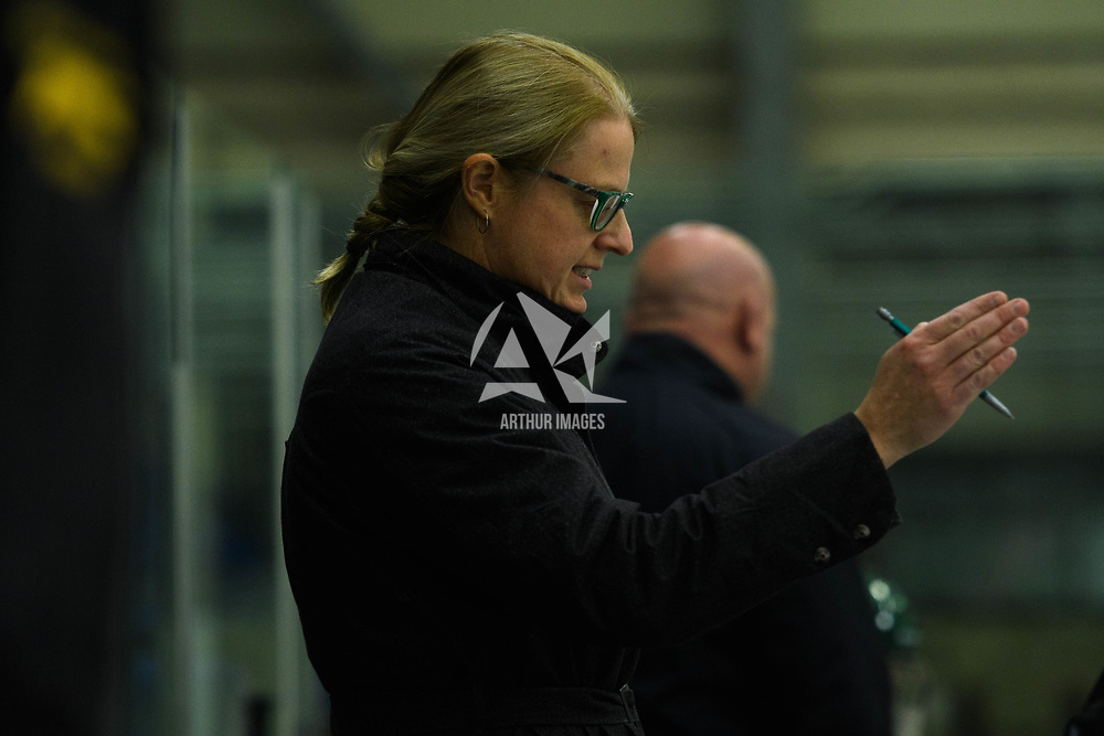 Regina Cougars head coach Sarah Hodges in action during the Women's Hockey home game on October 14 at Co-operators arena. Credit: Arthur Ward/Arthur Images