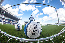 Falkirk FC keeper Michael McGovern behind a ball during the warm-up. The Falkirk Stadium, with the new pitch work for the Scottish Championship game v Morton. The woven GreenFields MX synthetic turf and the surface has been specifically designed for football with 50mm tufts compared with the longer 65mm which has been used for mixed football and rugby uses.  It is fully FFA two star compliant and conforms to rules laid out by the SPL and SFL.<br /> ©Michael Schofield.