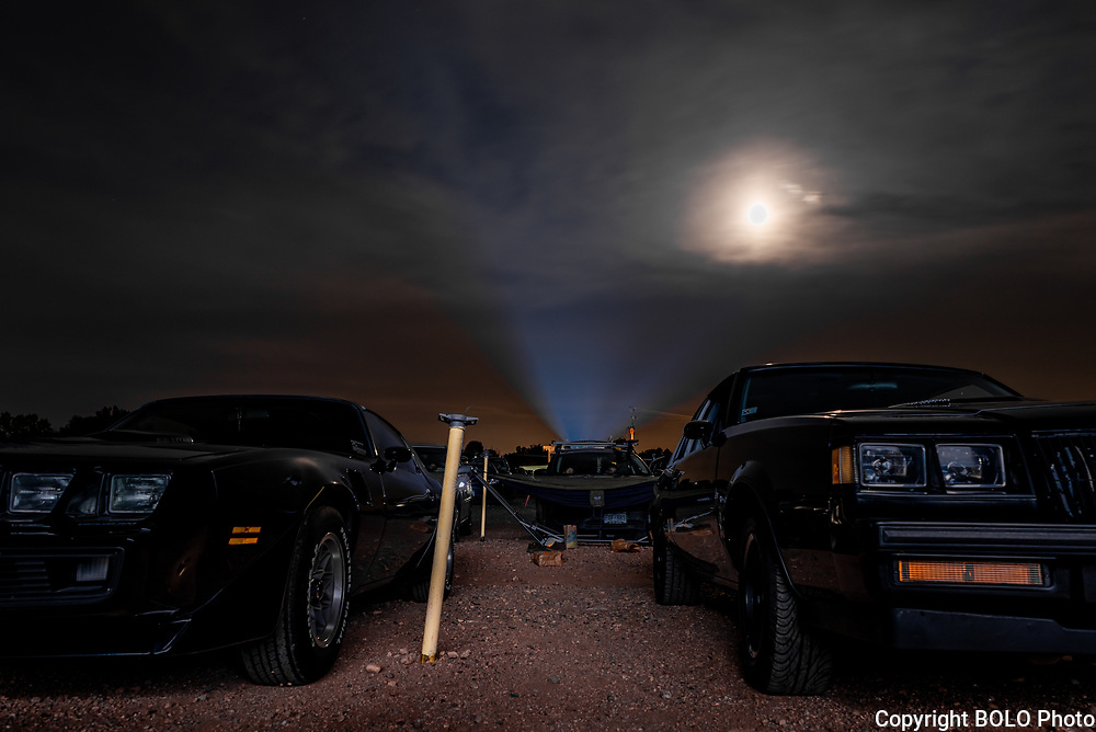 BOLO Photo<br /> Wild West Automotive Photography<br /> Full Moon Projection<br /> 25 Aug 18<br /> Holiday Twin Drive-In<br /> Fort Collins, Colorado<br /> (1987 Buick Turbo T: Wayne Emmons) <br /> (1979 Pontiac Trans Am Heather Wendelboe)