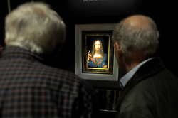 File photo dated November 3, 2017 of Leonardo da Vinci's Salvator Mundi painting on display at a press preview at Christie's in New York City, NY, USA. Da Vinci painting has been sold at auction for more than $450m (£341m), making it the most expensive piece of art ever sold under the hammer. Salvator Mundi, the last Da Vinci in private hands, sold for exactly $450,312,500 at Christie's in Manhattan, New York, on Wednesday November 15, 2017. The 26-inch-tall painting dates from around 1500 and is believed to show Christ dressed in Renaissance-style robes, his right hand raised in blessing as his left hand holds a crystal sphere. Photo by Dennis Van Tine/ABACAPRESS.COM