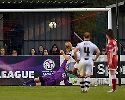 Bristol Academy's Mary Earps dives low as Notts County Ladies FC's Alex Greenwood scores from a penalty kick - Photo mandatory by-line: Paul Knight/JMP - Mobile: 07966 386802 - 25/04/2015 - SPORT - Football - Bristol - Stoke Gifford Stadium - Bristol Academy Women v Notts County Ladies FC - FA Women's Super League