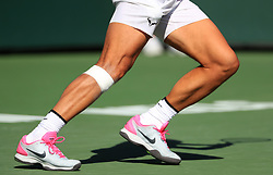 INDIAN WELLS, March 16, 2019  Photo taken on March 15, 2019 shows the bandages on Rafael Nadal's right leg during the men's singles quarterfinal match against Karen Khachanov of Russia at the BNP Paribas Open tennis tournament in Indian Wells, the United States, March 15, 2019. Nadal won 2-0 and advanced to the semifinal. (Credit Image: © Xinhua via ZUMA Wire)
