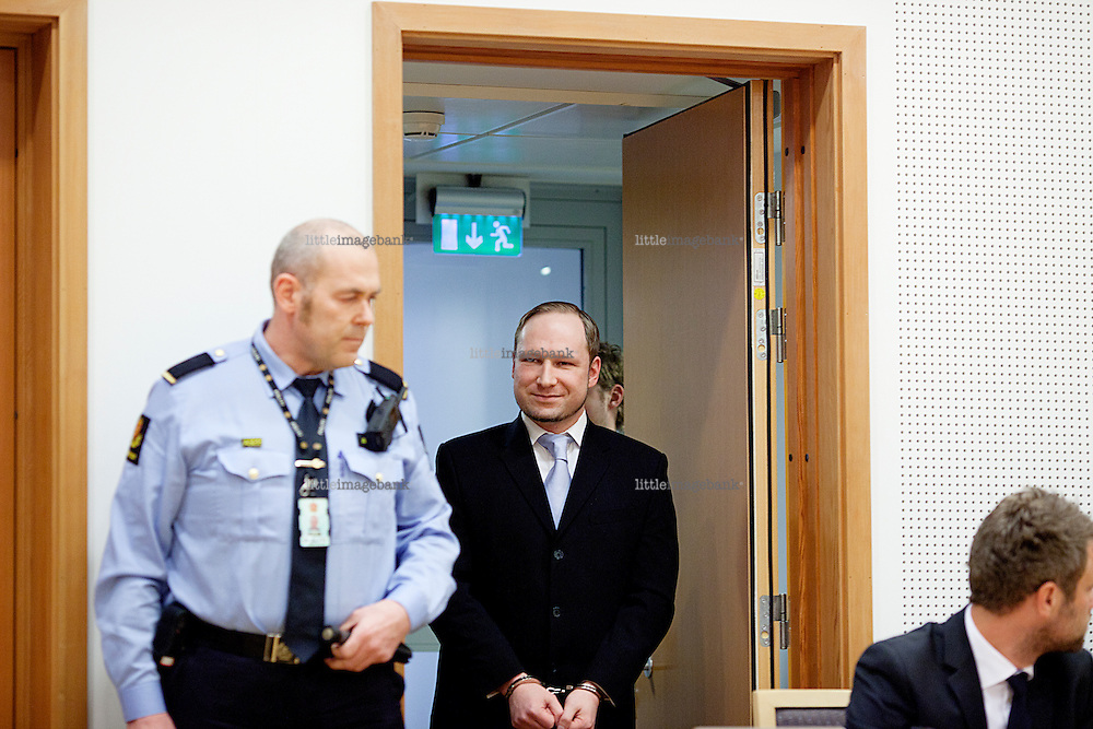 Oslo, Norway, 06.02.2012. Anders Behring Breivik enterr the courtroom in Oslo. Photo: Christopher Olssøn.