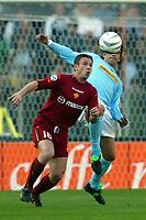 Roma 21/4/2004 Campionato Italiano Serie A <br />Lazio - Roma 1-1 <br />Antonio Cassano (Roma) and Fernando Couto (Lazio)<br />Lazio and Roma are playing again after it was suspended on March 21, 2004, for security reasons.  <br />Foto Andrea Staccioli Graffiti