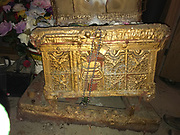 Arc of the Covenant- heavy- on a dolly- all painted gold- made of old steamer trunk-adorned with angels on top and flowers inside- use to hold 10 commandments-  Major work by preacher appx 3ft by 2 ft by 3 ft tall<br />