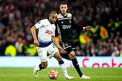 Lucas of Tottenham Hotspu takes on Noussair Mazraoui of Ajax - Mandatory by-line: Robbie Stephenson/JMP - 30/04/2019 - FOOTBALL - Tottenham Hotspur Stadium - London, England - Tottenham Hotspur v Ajax - UEFA Champions League Semi-Final 1st Leg