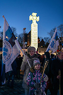 Tallinn, Estonia - February 24, 2020: Evelin Poolamets and daughter Helis attend a rally and march of the Conservative People's Party.