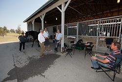 Belgian dressage team at the stables in the Kentucky Horse Park<br /> chef de mission Ingmar Devos, chef d'equipe Jeroen Van Lent, Jeroen Devroe and Philippe Jorissen<br /> World Equestrian Games Lexington - Kentucky 2010<br /> © Dirk Caremans
