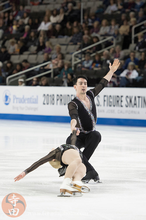 January 4, 2018; San Jose, CA, USA; Caitlin Fields and Ernie Utah Stevens perform in the pairs short program during the 2018 U.S. Figure Skating Championships at SAP Center.