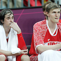 31 July 2012: Russia Alexey Shved is seen next to Andrei Kirilenko during the 73-54 Russia victory over China, during the men's basketball preliminary, at the Basketball Arena, in London, Great Britain.