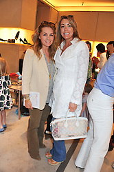 Left to right, AMANDA KYME and GRANIA STEPHENSON at a fun filled tea party hosted by Roger Vivier to view their Jeune Fille collection of shoes in aid of Mothers4Children held at Roger Vivier, Sloane Street, London on 27th March 2012.