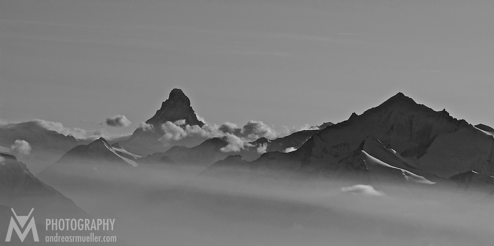 The Matterhorn in the mist. Aerial view.