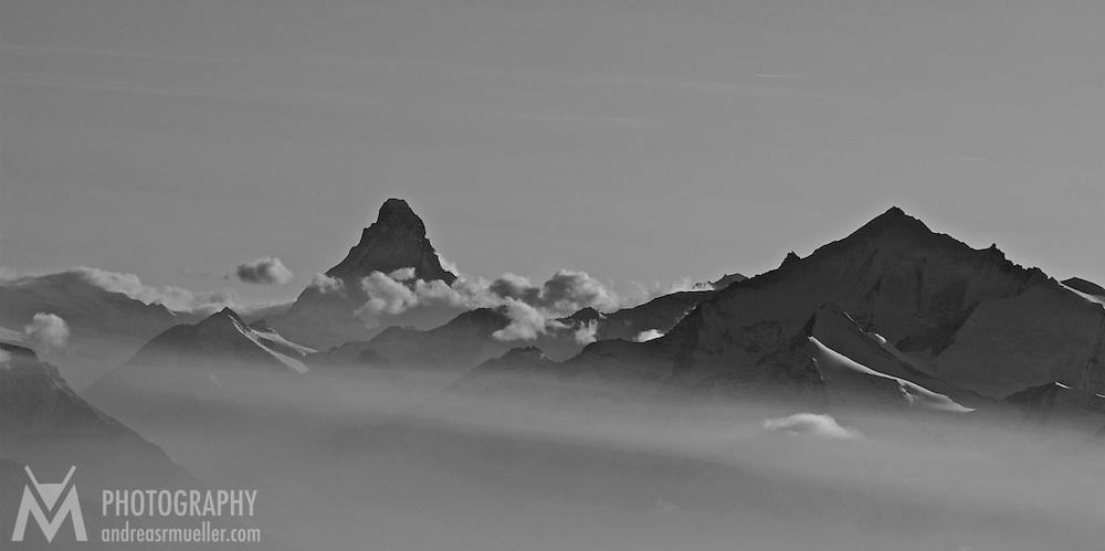 The Matterhorn in the mist. Aerial view.