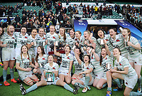 Rugby Union - 2017 Women's Varsity Match - Oxford University vs. Cambridge University<br /> <br /> Cambridge team and Captain, Lara Gibson with the trophy  at Twickenham.<br /> <br /> COLORSPORT/ANDREW COWIE
