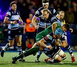 Olly Robinson of Cardiff Blues is tackled by Dave Heffernan of Connacht<br /> <br /> Photographer Simon King/Replay Images<br /> <br /> Guinness PRO14 Round 14 - Cardiff Blues v Connacht - Saturday 26th January 2019 - Cardiff Arms Park - Cardiff<br /> <br /> World Copyright © Replay Images . All rights reserved. info@replayimages.co.uk - http://replayimages.co.uk