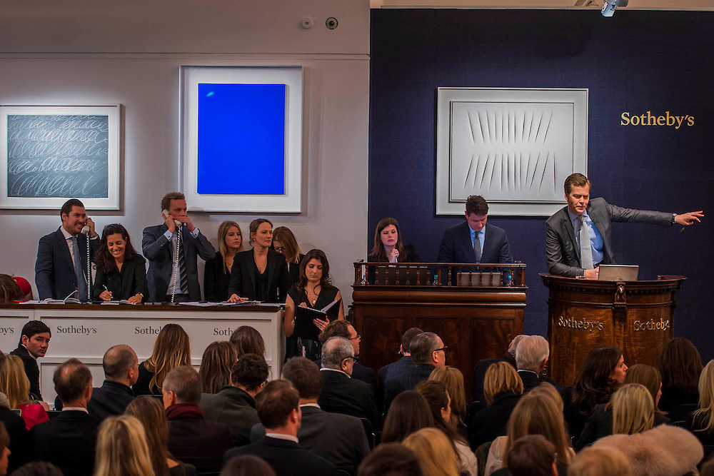 Sotheby's sale of post-war and contemporary art - highlights include: a group of works from an Important Swedish Private Collection, including Lucio Fontana's rarely seen masterwork, Concetto Spaziale, Attese (1965) Estimate £5,000,000 — 7,000,000 (pictured White), and Robert Rauschenberg's Untitled (Small oil on canvas #4) (1963) Estimate £800,000 — 1,200,000; s a self- portrait diptych by Francis Bacon from 1977 Estimate £13,000,000 — 18,000,000; a monumental and mesmeric Abstraktes Bild by Gerhard Richter Estimate £14,000,000 — 20,000,000; and works by Cy Twombly, Nicolas de Staël, Yves Klein (pictured Blue), Jean-Michel Basquiat and Andy Warhol.