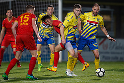 September 30, 2017 - Tubize, BELGIUM - Tubize's Wook Ki Hwang and Westerlo's Bryan Van Den Bogaert fight for the ball during a soccer game between AFC Tubize and KVC Westerlo, in Tubize, Saturday 30 September 2017, on the eighth day of the division 1B Proximus League competition of the Belgian soccer championship. BELGA PHOTO BRUNO FAHY (Credit Image: © Bruno Fahy/Belga via ZUMA Press)