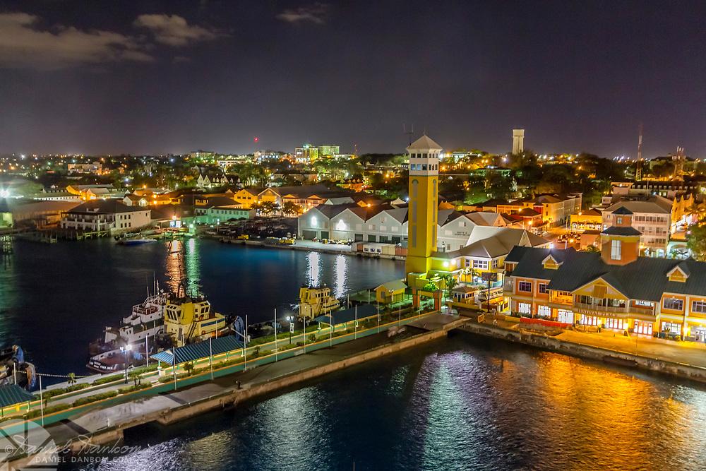 Night view of the docks along Nassau, Bahama
