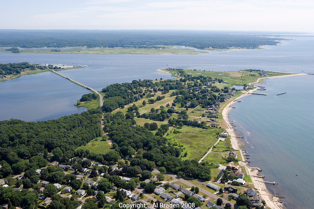Aerial of South Cove and Fenwick Point, Old Saybrook, CT at the mouth of the Connecticut River.