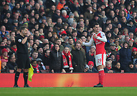 Football - 2016 / 2017 Premier League - Arsenal vs. Burnley<br /> <br /> Granit Xhaka of Arsenal looks to the linesman after being sent off  at The Emirates.<br /> <br /> COLORSPORT/ANDREW COWIE