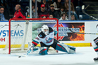 KELOWNA, BC - JANUARY 4:  Roman Basran #30 of the Kelowna Rockets makes a second period save against the Vancouver Giants at Prospera Place on January 4, 2020 in Kelowna, Canada. (Photo by Marissa Baecker/Shoot the Breeze)
