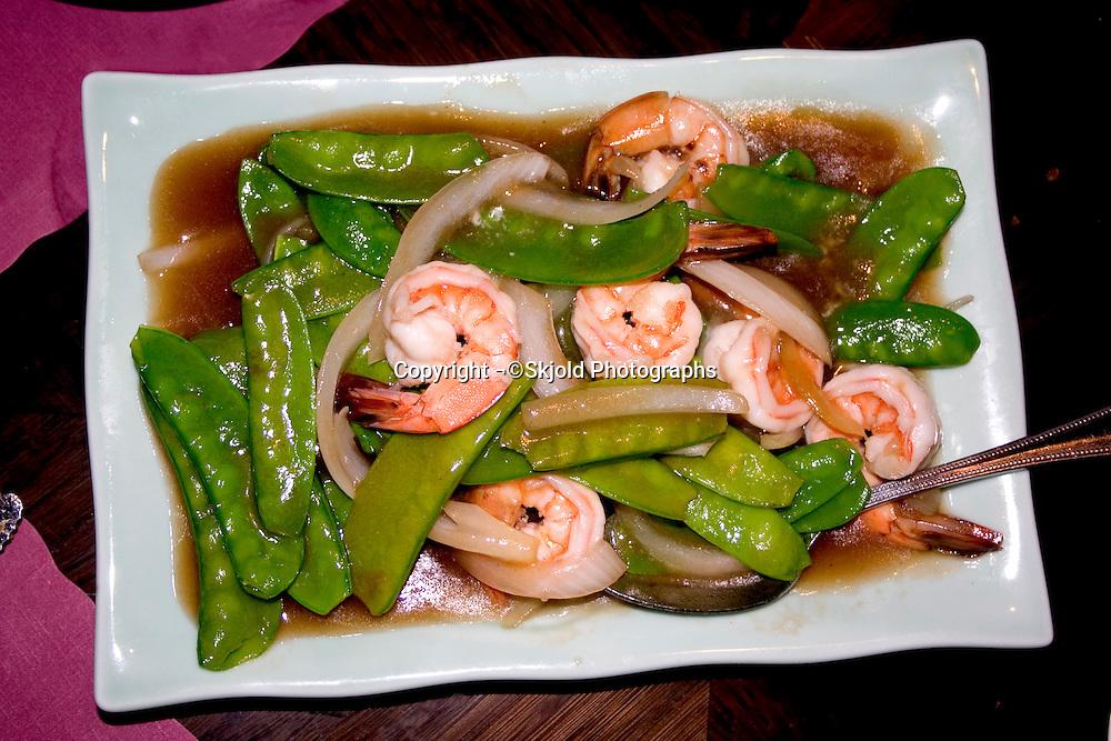 Shrimp and pea pod entrée at the Mai Village restaurant specializing in Vietnamese cuisine.  St Paul Minnesota USA