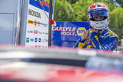 June 23, 2018 - Elkhart Lake, Wisconsin, United States of America - ALEXANDER ROSSI (27) of the United States hangs out on pit road prior to taking to the track to practice for the KOHLER Grand Prix at Road America in Elkhart Lake, Wisconsin. (Credit Image: © Justin R. Noe Asp Inc/ASP via ZUMA Wire)