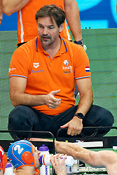 Coach Harry van der Meer of Netherlands during Netherlands vs Malta on LEN European Aquatics Waterpolo January 21, 2020 in Duna Arena in Budapest, Hungary