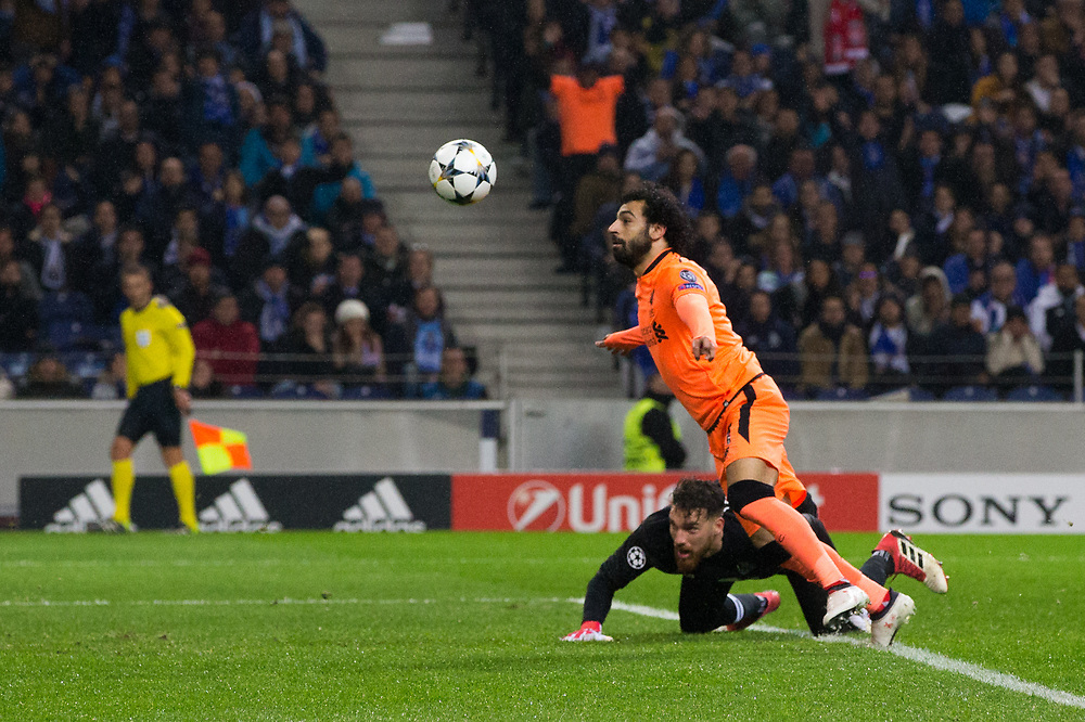 Liverpool's Mohamed Salah controls the ball on the way to scoring his side's second goal <br /> <br /> Photographer Craig Mercer/CameraSport<br /> <br /> UEFA Champions League Round of 16 First Leg - FC Porto v Liverpool - Wednesday 14th February 201 - Estadio do Dragao - Porto<br />  <br /> World Copyright © 2018 CameraSport. All rights reserved. 43 Linden Ave. Countesthorpe. Leicester. England. LE8 5PG - Tel: +44 (0) 116 277 4147 - admin@camerasport.com - www.camerasport.com