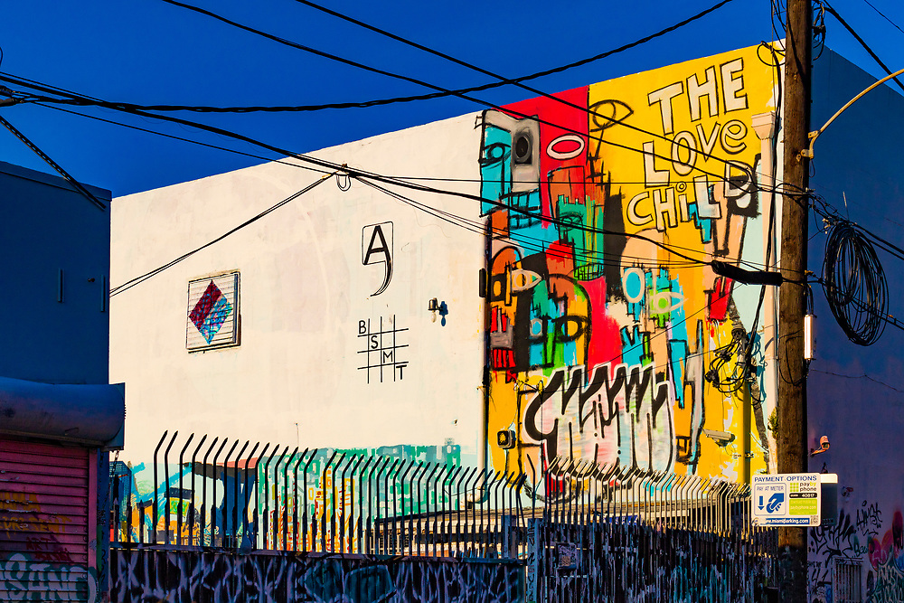 A wall with graffiti and murals in several different styles catches late afternoon sunlight in Miami's Wynwood street art district