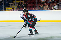 KELOWNA, CANADA - SEPTEMBER 5: Liam Kindree #26 of the Kelowna Rockets passes the puck against the Kamloops Blazers on September 5, 2017 at Prospera Place in Kelowna, British Columbia, Canada.  (Photo by Marissa Baecker/Shoot the Breeze)  *** Local Caption ***