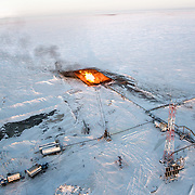 """""""Flaring"""" at an unidentified drilling well in Novy Urengoi, Arctic Siberia, Russia. Photo by photographer Justin Jin."""