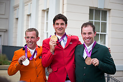 1 Guerdat Steve (SUI), 2 Schroder Gerco (NED), 3 O' Connor Cian (IRL)<br /> Olympic Games London 2012<br /> © Dirk Caremans