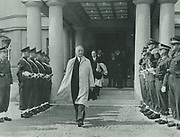 Konrad Adenauer (1876-1967), West German Chancellor, leaving the Alied Military Headquarters in Berlin.