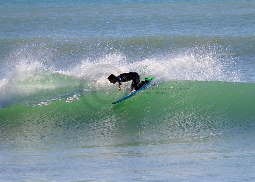 Knee boarders warm up for the World titles at the Spit @9th Feb 2020 with a few local surfers