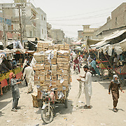 Street of the main bazaar in Jacobabad.