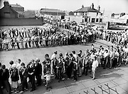 Thousands of Dubliners queue at Croke Park to capture vital All Ireland semi-final replay tickets. The replay, between Dublin and Cork, was to be held in Cork. Dublin beat Cork in a very exciting encounter, and went on to beat Galway 1-10 to 1-8 in the final at Croke Park.<br /> 28 August 1983