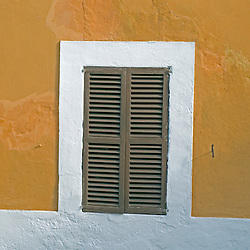 Shutters of a home in Ibiza Spain