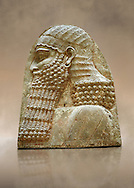 Stone relief sculptured panel fragment of a Dignitary. Inv AO 1432 from Dur Sharrukin the palace of Assyrian king Sargon II at Khorsabad, 713-706 BC.  Louvre Museum Room 4 , Paris .<br /> <br /> If you prefer to buy from our ALAMY PHOTO LIBRARY  Collection visit : https://www.alamy.com/portfolio/paul-williams-funkystock/ancient-assyria-antiquities.html  Refine search by adding background colour, place, subject, museum etc into the LOWER SEARCH WITHIN GALLERY box to <br /> <br /> Visit our ANCIENT WORLD PHOTO COLLECTIONS for more photos to download or buy as wall art prints https://funkystock.photoshelter.com/gallery-collection/Ancient-World-Art-Antiquities-Historic-Sites-Pictures-Images-of/C00006u26yqSkDOM