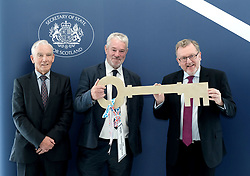Scottish Secretary of State David Mundell received the keys to the new UK Government building in Edinburgh.<br /> <br /> The new hub is due to open in early 2020 and bring together nearly 3,000 UK Government civil servants.<br /> <br /> Pictured: (l to r) Seamus McAleer (founder & chairman, McAleer and Rushe), Clive Wilding (Property Director, Artisan Real Estate), and David Mundell MP <br /> <br /> Alex Todd   Edinburgh Elite media