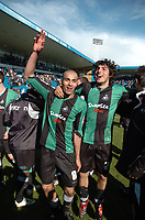 Photo: Tony Oudot/Richard Lane Photography. <br /> Gilingham Town v Swansea City. Coca-Cola League One. 12/04/2008. <br /> Swansea players Darren Pratley and matchwinner Guillem Bauza celebrate their promotion to the Championship