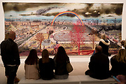 Visitors to the Grayson Parry exhibition entitled The Most Popular Art Exhibition Ever! admire the wall-hanging tapestry entitled Battle of Britain, on 5th November 2017, at the Arnolfini, Bristol, England.
