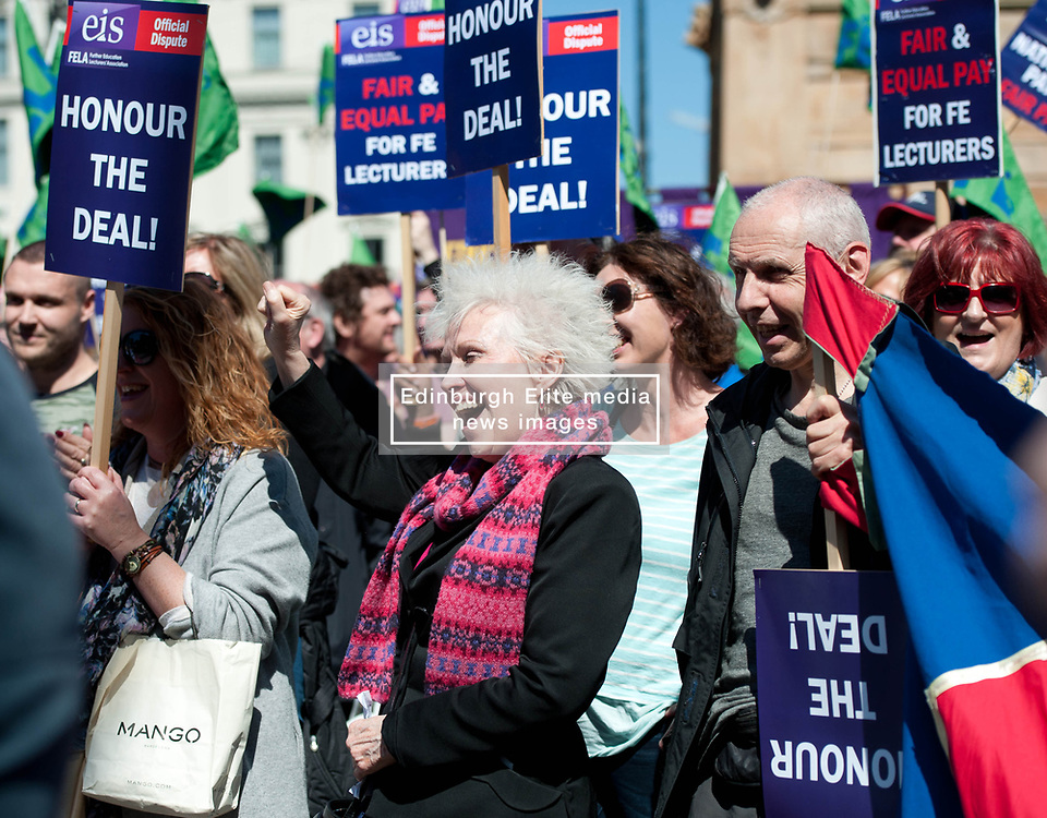Further Education Lecturers attend a strike rally in Glasgow in protest against the refusal of College Management to honour a deal on pay and conditions that was reached more than a year ago. Wednesday 03 May 2017 (c) Angie Isac   SportPix.org.uk