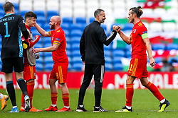 Wales manager Ryan Giggs celebrates with Gareth Bale of Wales after a 1-0 win - Rogan/JMP - 06/09/2020 - FOOTBALL - Cardiff City Stadium - Cardiff, Wales - Wales v Bulgaria - UEFA Nations League Group B4.
