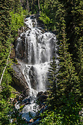 Waterfall along the Spires Trail to Conrad Kain Hut (6 miles round trip with 2400 ft gain), in Bugaboo Provincial Park, in the Purcell Range of the Columbia Mountains, British Columbia, Canada.