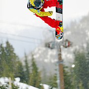 Canadian National Snowboard Team member Jeff Batchelor competes during the 2009 LG Snowboard FIS World Cup at Cypress Mountain, British Columbia, on February 16th, 2009. Batchelor had a strong finish, placing 8th overal in the field of 62.