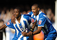 Photo: Olly Greenwood.<br />Colchester United v West Bromwich Albion. Coca Cola Championship. 20/10/2007.Colchester's Kevin Lisbie celebrates scoring with Clive Platt