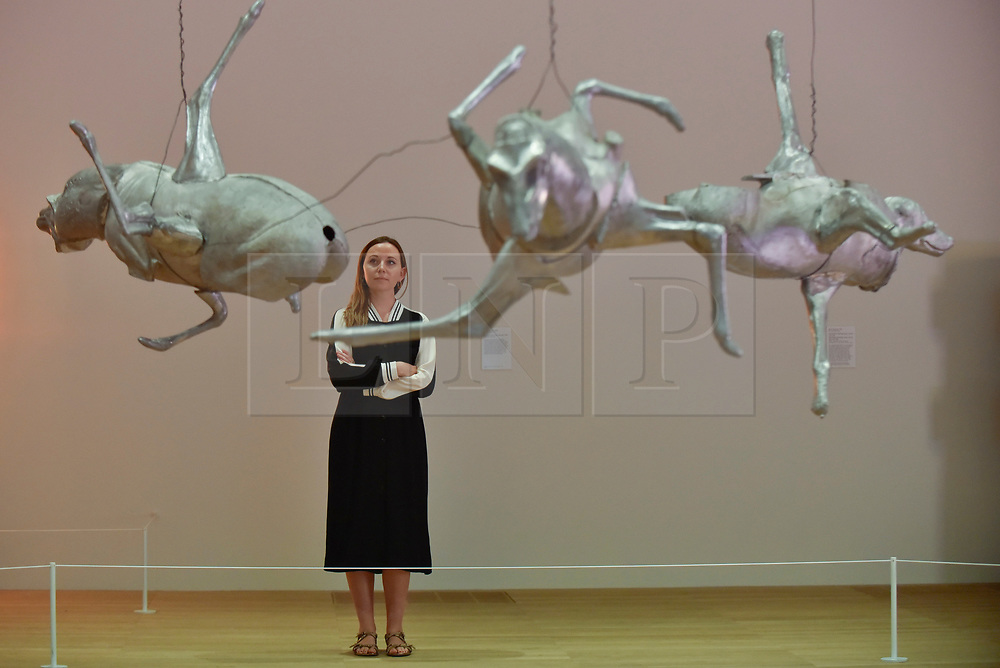 """© Licensed to London News Pictures. 31/07/2017. London, UK. A gallery staff member views """"Untitled (Three Large Animals)"""", 1989, by Bruce Nauman.  Preview of the new Artist Rooms exhibition of Bruce Nauman at Tate Modern on currently until July 2018.  Nauman is widely regarded as one of the most innovative and influential American artists working today.  The Artist Rooms gallery is the London hub for showcasing work from the Artist Rooms collection which is owned jointly by Tate and the National Galleries of Scotland.  Photo credit : Stephen Chung/LNP"""