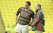 Watford. Great Britain. <br /> Left martin JOHNSON and Dean RICHARDS.<br /> Heineken Cup Semi Final; Gloucester Rugby vs Leicester Tigers. Vicarage Road Stadium, Hertfordshire.England.  <br /> <br /> [Mandatory Credit, Peter Spurrier/ Intersport Images].