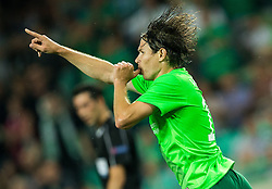 Etien Velikonja of NK Olimpija celebrates after scoring first goal for Olimpija during 1st Leg football match between NK Olimpija Ljubljana (SLO) and FK AS Trenčin (SVK) in Second Qualifying Round of UEFA Champions League 2016/17, on July 13, 2016 in SRC Stozice, Ljubljana, Slovenia. Photo by Vid Ponikvar / Sportida